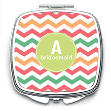 Multi Chevron Personalized Mirror For Bridesmaids, Square