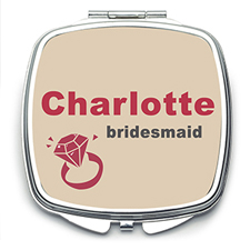 Wedding Ring Personalized Mirror For Bridesmaids, Square