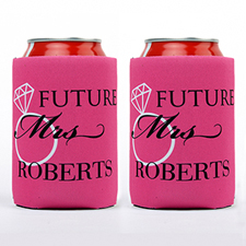 Wedding Ring Future Mrs. Personalized Can Cooler, Hot Pink