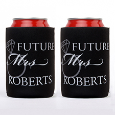 Wedding Ring Future Mrs. Personalized Can Cooler, Black