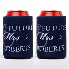 Wedding Ring Future Mrs. Personalized Can Cooler, Navy