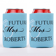 Wedding Ring Future Mrs. Personalized Can Cooler, Blue