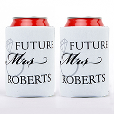Wedding Ring Future Mrs. Personalized Can Cooler, White