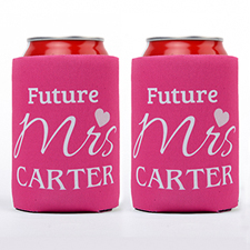 Love Future Mrs. Personalized Can Cooler, Hot Pink