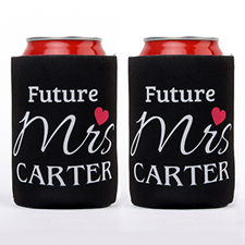 Love Future Mrs. Personalized Can Cooler, Black