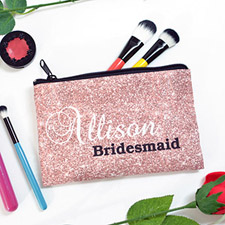 Glitter Rose Gold Personalized Cosmetic Bag, 5x8