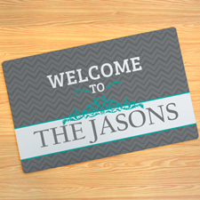 Grey Chevron Personalized Doormat