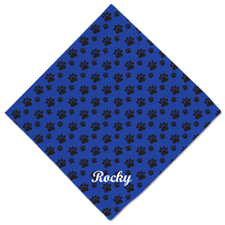 Blue Paw Print Custom Name Dog Bandanas, 20 Inch