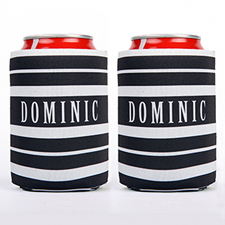 Black And White Stripe Personalized Can Cooler