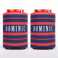Navy And Red Stripe Personalized Can Cooler