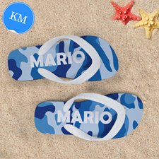 Blue Camo Personalized Flip Flops, Kids Medium