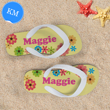 Floral Personalized Flip Flops For Kids, Medium