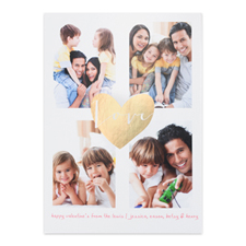 Gold Foil Heart Personalized Photo Valentine's Card, 5X7