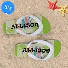 Surfboard Personalized Flip Flops, Kids Medium