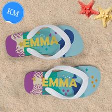 Ocean Personalized Flip Flops, Kids Medium