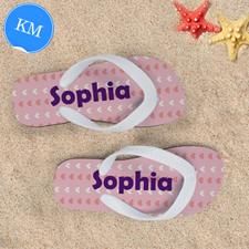 Little Hearts Personalized Flip Flops For Kids, Medium