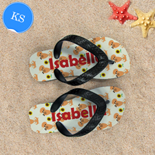 Fox Personalized Flip Flops for Kids,Small