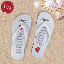 White Bride Personalized Wedding Flip Flops, Women Medium