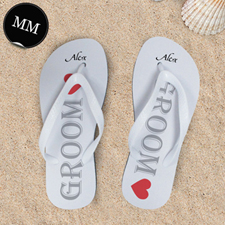 White Groom Personalized Wedding Flip Flops, Men Medium