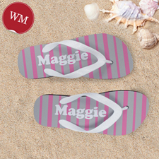 Pink Grey Stripe Personalized Flip Flops, Women Medium