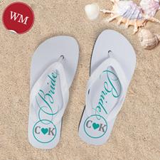 Mint Bride Personalized Wedding Flip Flops, Women Medium