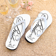 Script Bride Personalized Wedding Flip Flops, Women Medium