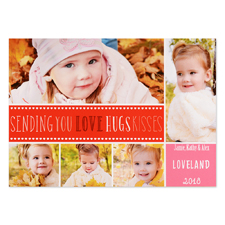 Love Hugs Kisses Personalized Valentine Photo Card