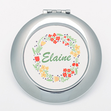 Floral Personalized Round Compact Mirror