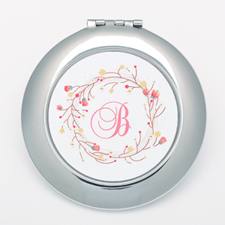 Monogrammedmed Floral Personalized Round Compact Mirror