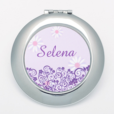Lavender Floral Personalized Round Compact Mirror