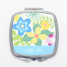 Floral Garden Personalized Square Compact Mirror