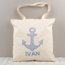 Dot Anchor Personalized Cotton Tote Bag