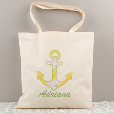 Floral Anchor Personalized Cotton Tote Bag