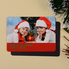 Personalized Merry Xmas Photo Magnet, Red
