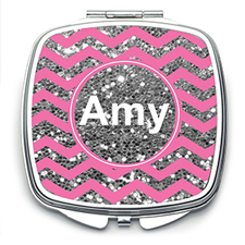 Pink Glitter Silver Personalized Square Mirror For Bridesmaids