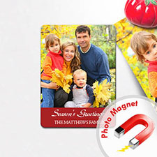 Personalized Merry Cheer Photo Magnet, Red