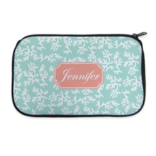 Aqua Coral Personalized Neoprene Cosmetic Bag