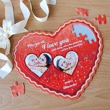 Red Love Personalized Heart Shape Puzzle