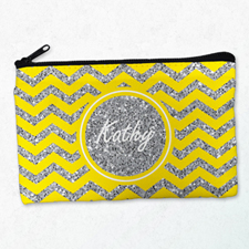 Yellow Glitter Chevron Personalized Cosmetic Bag, Medium
