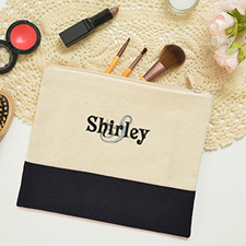 Name&Initial #8 Personalized Black Toiletry Bag