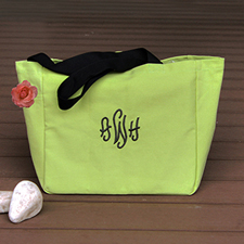 Personalized Embroidered Cotton Tote Bag, Green