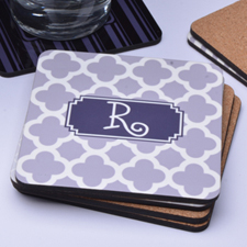 Grey Monogrammed Clover Personalized Cork Coaster