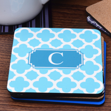 Aqua Monogrammed Clover Personalized Cork Coaster