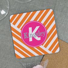 Orange Geometric Pattern Personalized Cork Coaster