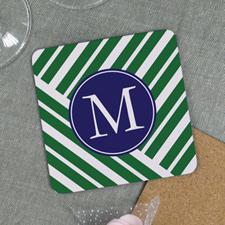 Green Geometric Pattern Personalized Cork Coaster