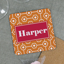 Orange Geometric Pattern Personalized Cork Coaster