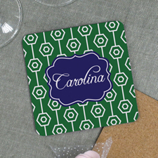 Green Geometric Pattern Personalized Cork Coaster