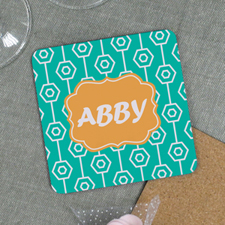 Aqua Geometric Pattern Personalized Cork Coaster