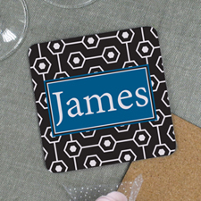 Black Geometric Pattern Personalized Cork Coaster