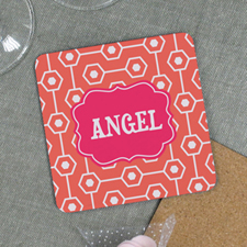 Carol Geometric Pattern Personalized Cork Coaster